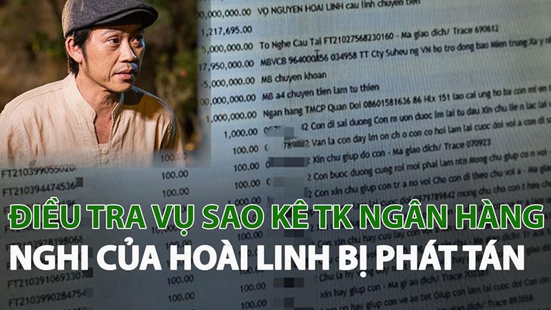 Sao kê tài khoản ngân hàng của nghệ sĩ Hoài Linh