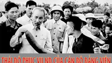 Thái độ phục vụ nhân dân của cán bộ Đảng viên theo tấm gương đạo đức Hồ Chí Minh