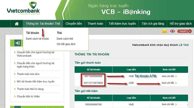 In sao kê trên Internet Banking